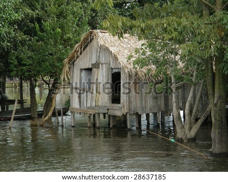 stilted house on the amazon river