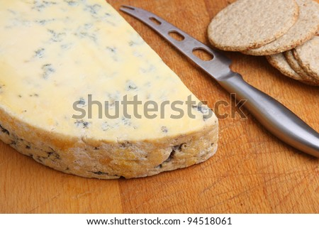Stilton cheese with oatcake biscuits