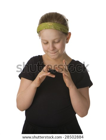 Stimming girl nervous in black against a white background