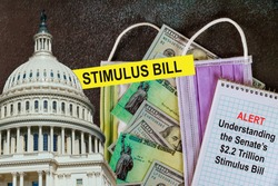 STIMULUS CHECKS Washington DC Capitol dome with Global pandemic Covid 19 lockdown Coronavirus stimulus package relief checks from government US 100 dollar bills currency