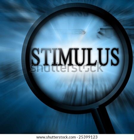 stimulus with magnifier on a blue background
