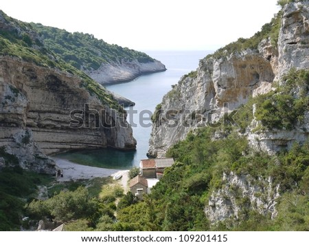 Stiniva bay of the island Vis in the Adriatic sea of Croatia