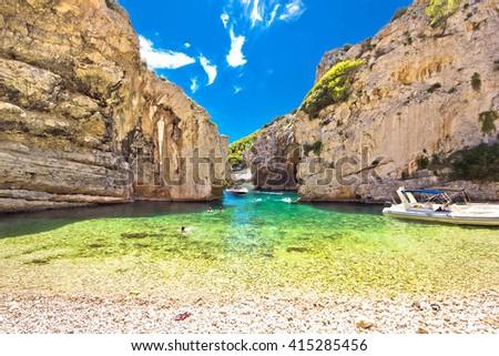 Stinva bay beach, wonder of geology on Vis island, Dalmatia, Croatia