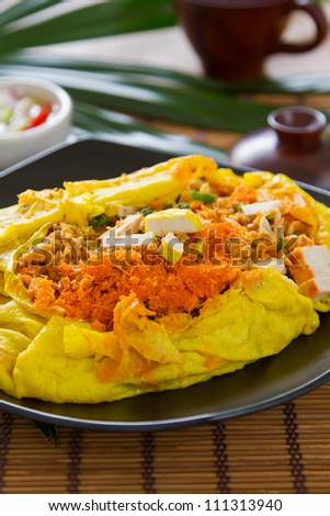 Stir fried Bean sprout and Tofu wrapped in omelette [Thai \'s food]