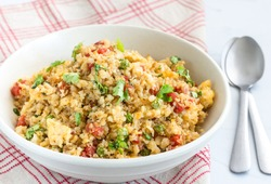 Stir Fried Cauliflower Rice in a Bowl Horizontal Photo. Low Carb Weight Loss Food