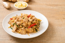 stir-fried chicken with ginger - Asian food style