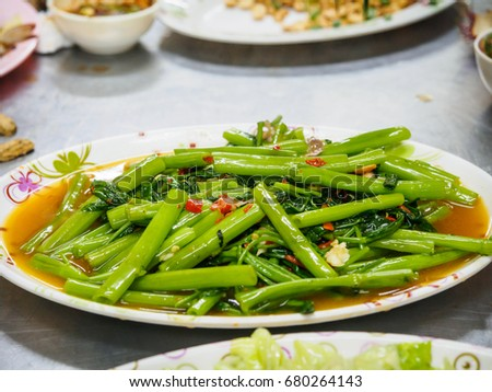 Stir Fried Chinese Morning Glory #680264143