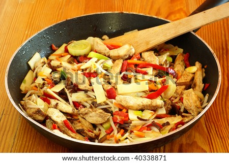 Stir-Fried Chinese Vegetables With Chicken Stock Photo 40338871 ...