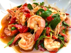 Stir Fried Shrimp with Basil