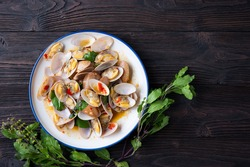 Stir fried Spicy Clam ,Surf clam, with Thai Holy Basil With  Steamed Rice , Asian Food