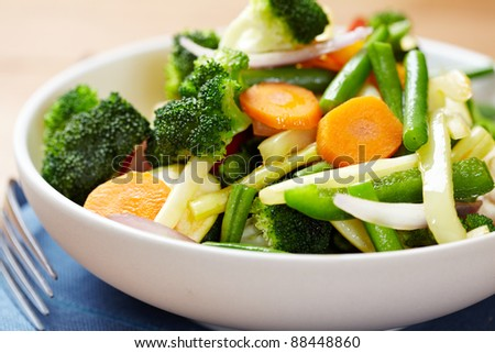 Stir fried vegetables in a bowl