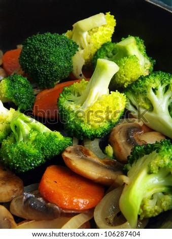 stir fried vegetables on pan