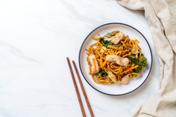stir-fried yakisoba noodles with chicken- Asian food style