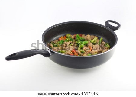 Stir fry in a pan - stock photo