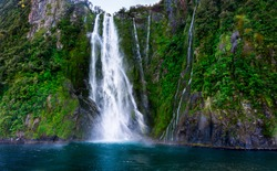 Stirling Falls at Milford Sound in South Island of New Zealand is the most beautiful and greatest waterfalls in Milford Sound, New Zealand.