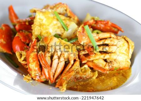 Stirred Fried Crab with Garlic, Pepper, Curry Powder.