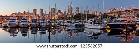Stitched Panorama of Vancouver BC Skyline at dusk.