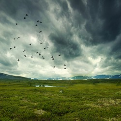Stitched Panorama, wild nature with storm clouds