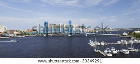stitched panoramic of the blue bridge spanning the St. John's River in downtown Jacksonville, Florida