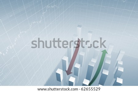 Stock Bar Chart with green and red arrows abstract