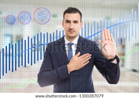 Stock broker doing solemn oath with hand on heart and palm raised on background made out of growing graph