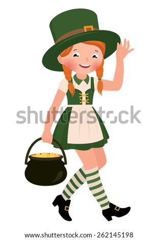 Stock cartoon illustration of a girl dressed as Saint Patrick Day/Girl dressed as Saint Patrick Day/Stock cartoon illustration