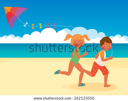 Stock cartoon illustration of kids running with kite on the beach/Children running with a kite on the beach/Children running with a kite on the beach/Stock cartoon illustration