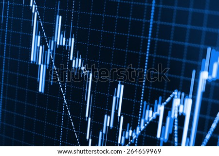 Stock chart graph of market share prices of company. Live on monitor desktop screen monitor. Business background. Blue color.