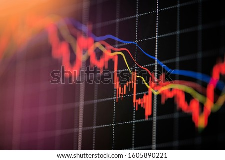 Stock crash market exchange loss trading graph analysis investment indicator business graph charts of financial digital background down stock crisis red price in down trend chart fall ストックフォト ©