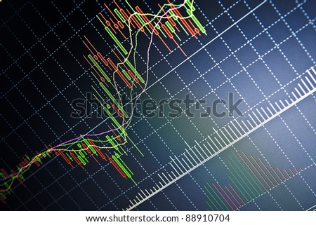 Stock data live on-line. Dark dramatic image