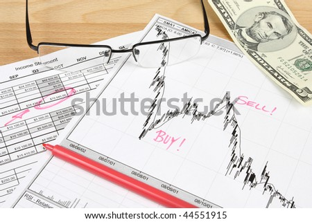 Stock exchange candle charts, US dollars, remarks with a red marker and glasses
