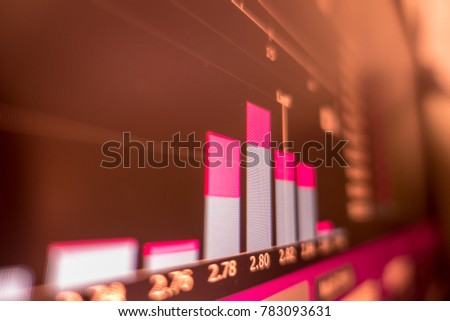 Stock exchange market graph analysis in red background