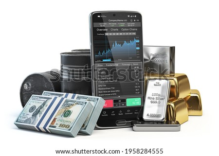 Stock exchange market trading platform on the screen of mobile phone. Smartphone with precious metals, money and crude oil. 3d illustration