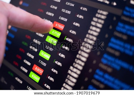 stock exchange monitor screen closeup on tablet with businessman finger analysis while open market for trading sell and buy stock online. business economic and finance concept Foto d'archivio ©