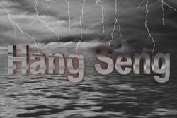 Stock exchange ocean thunderstorm with lightning and lettering Hang Seng in chrome