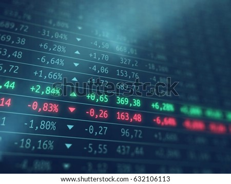 Stock exchange screen - Financial market growth or loss - Gdp growth  Foto d'archivio ©