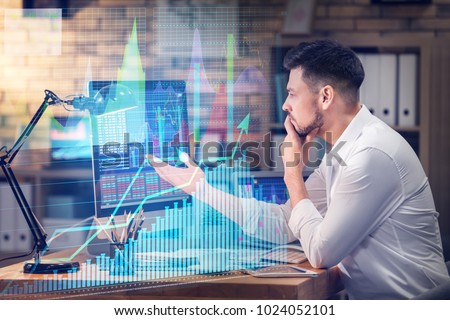 Stock exchange trader working in office