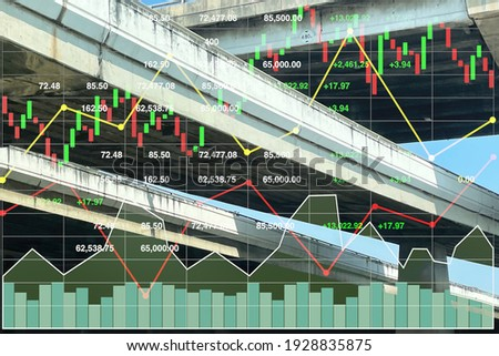 Stock financial index data of successful investment on transportation business and construction industry with chart and graph on superhighway intersection crossing background. Stock photo ©