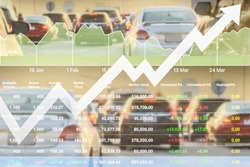 Stock financial index of successful investment on car sale cause traffic jam and transportation problem shown with chart and graph background.