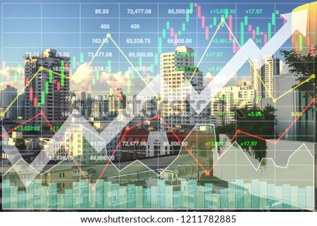 Stock financial index of successful investment on property real estate business and construction industry with graph and chart background.