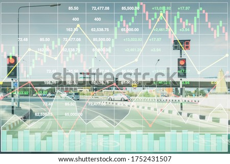 Stock financial index of successful investment on superhighway transportation business and logistic industry growth with chart and graph on superhighway perspective background in Bangkok Thailand. Stock photo ©