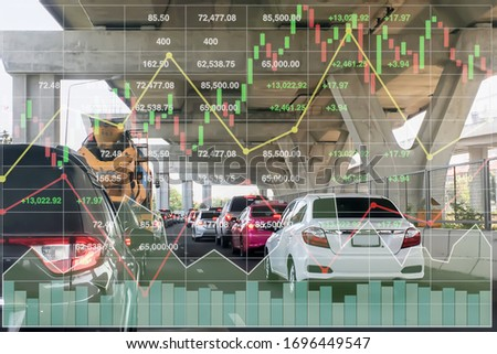 Stock financial index of successful investment on superhighway transportation business and traffic problem with chart and graph on superhighway perspective background in Bangkok Thailand. Stock photo ©