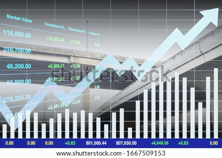 Stock financial index of successful investment on transportation business with chart and graph on superhighway intersection background. Stock photo ©