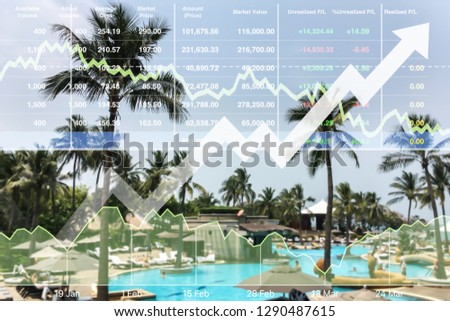Stock financial index show successful invest ment on summer holiday travel resort hotel business presentation with chart and graph on beach vacation background.