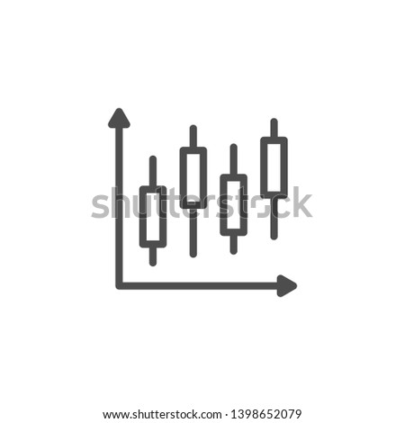 Stock graph line icon isolated on white