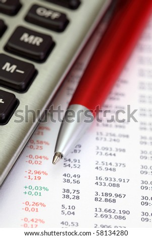 Stock graphic with pen and calculator
