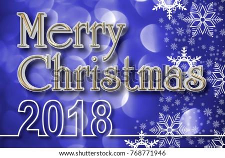 Stock Illustration - Golden Merry Christmas 3D, De-focused White Light Circles, White Snowflakes, Bokeh Illustration, Blue Background.  #768771946