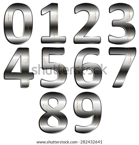 Stock illustration iron digit 0 - 9 #282432641