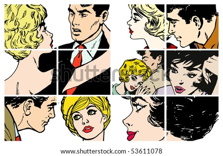 Stock Illustrations with several pairs of lovers