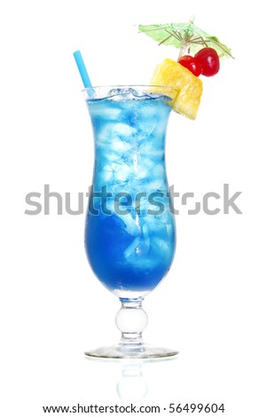 Stock image of Blue Hawaiian cocktail over white background. Find more cocktail and prepared drinks images on my portfolio.